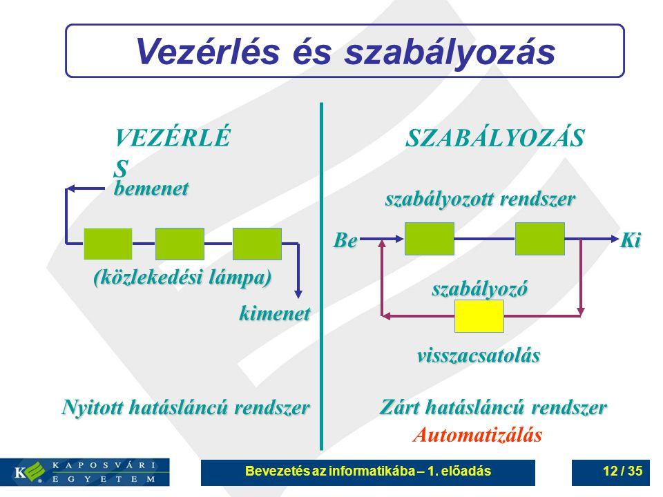 Bevezetés az informatikába – 1. előadás12 / 35 Vezérlés és szabályozás VEZÉRLÉ S SZABÁLYOZÁS bemenet kimenet Nyitott hatásláncú rendszer Zárt hatáslán