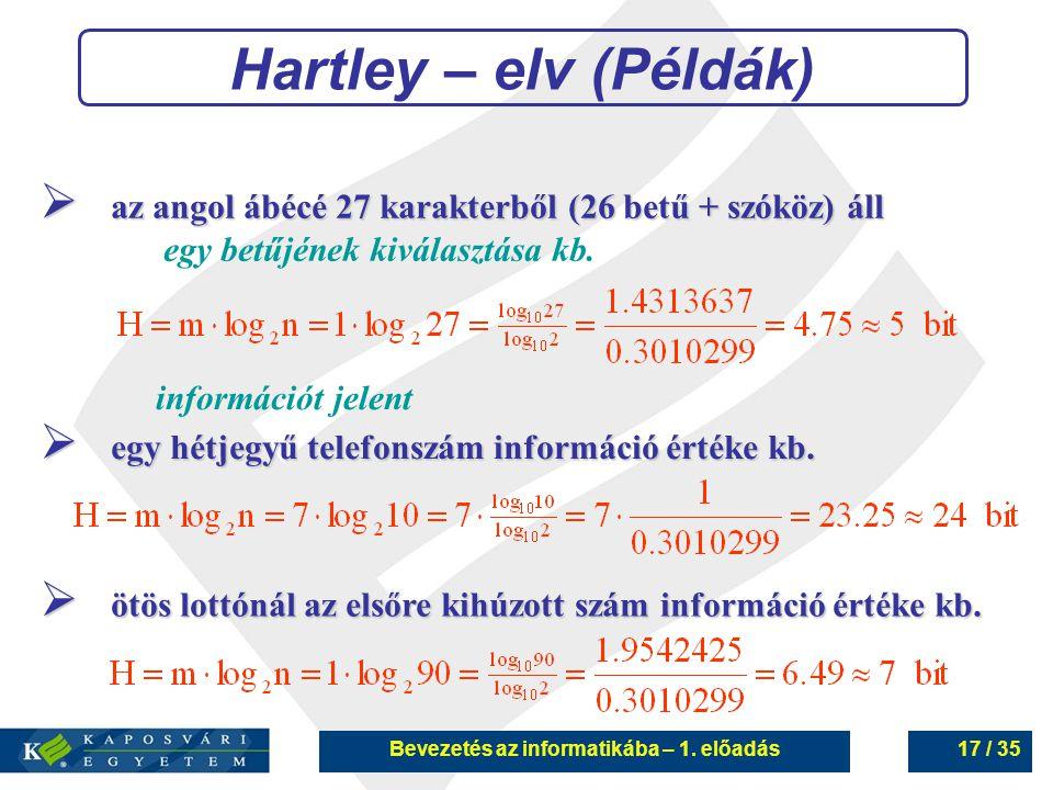 Bevezetés az informatikába – 1. előadás17 / 35 Hartley – elv (Példák)  az angol ábécé 27 karakterből (26 betű + szóköz) áll egy betűjének kiválasztás