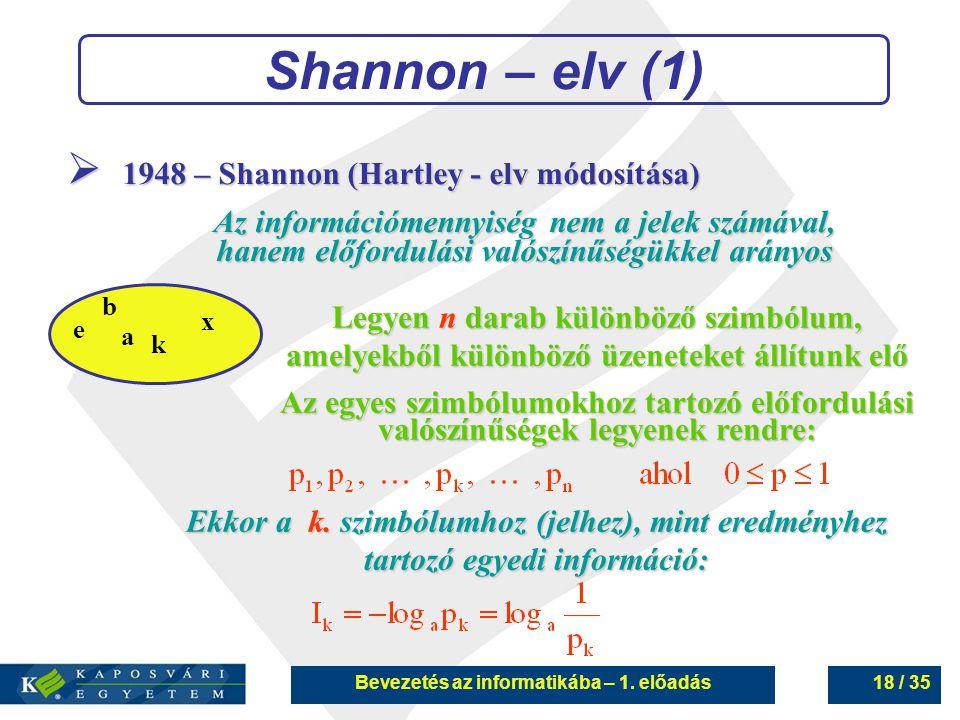 Bevezetés az informatikába – 1. előadás18 / 35 Shannon – elv (1) a b x k e  1948 – Shannon (Hartley - elv módosítása) Az információmennyiség nem a je