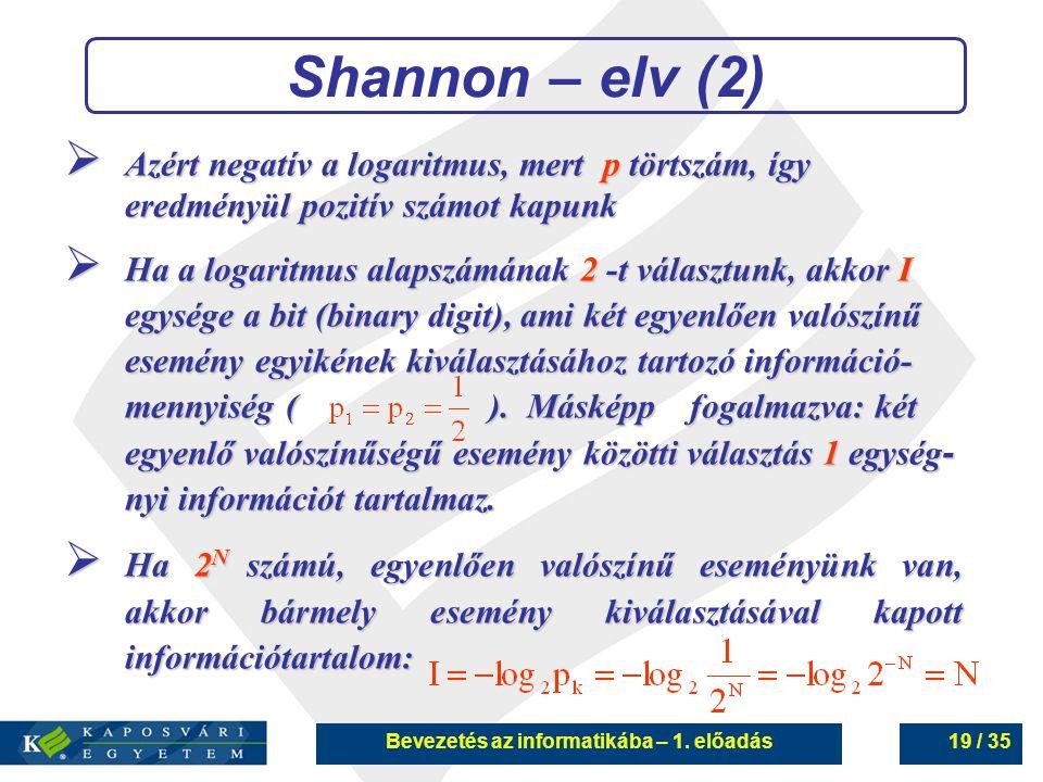 Bevezetés az informatikába – 1. előadás19 / 35 Shannon – elv (2)  Azért negatív a logaritmus, mert p törtszám, így eredményül pozitív számot kapunk 