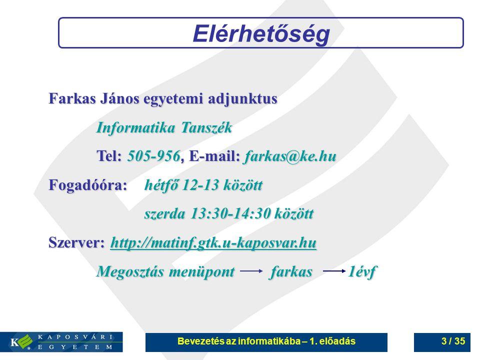 Bevezetés az informatikába – 1. előadás3 / 35 Elérhetőség Farkas János egyetemi adjunktus Informatika Tanszék Tel:505-956, E-mail:farkas@ke.hu Tel: 50