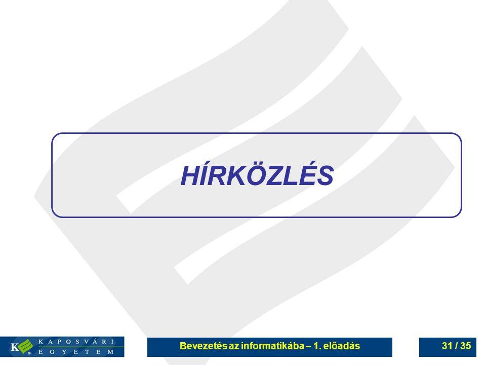 Bevezetés az informatikába – 1. előadás31 / 35 HÍRKÖZLÉS