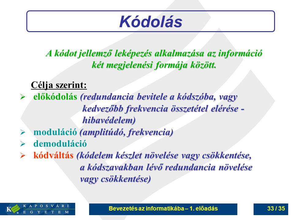 Bevezetés az informatikába – 1. előadás33 / 35 Kódolás A kódot jellemző leképezés alkalmazása az információ két megjelenési formája között. Célja szer