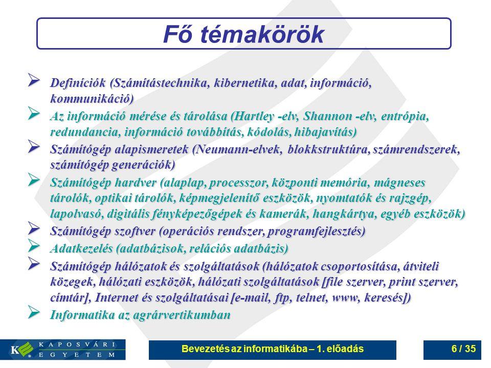 Bevezetés az informatikába – 1. előadás6 / 35 Fő témakörök  Definíciók (Számítástechnika, kibernetika, adat, információ, kommunikáció)  Az informáci