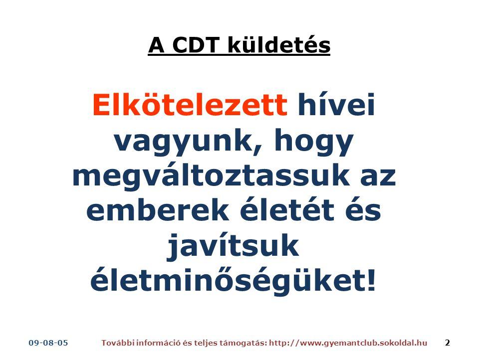 A CDT küldetés Elkötelezett hívei vagyunk, hogy megváltoztassuk az emberek életét és javítsuk életminőségüket.