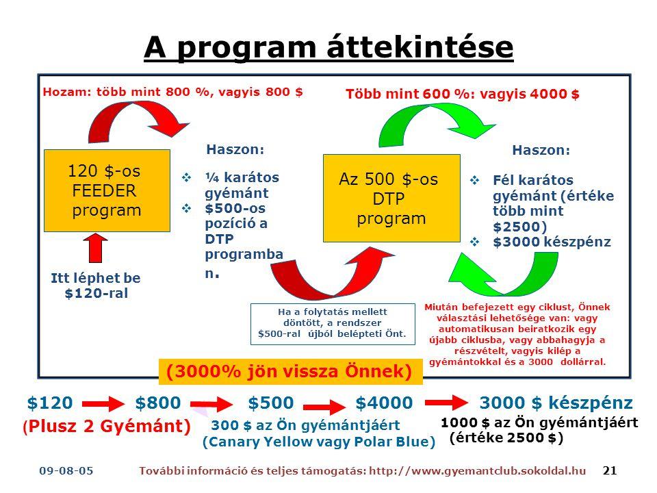 A program áttekintése Haszon:  ¼ karátos gyémánt  $500-os pozíció a DTP programba n.