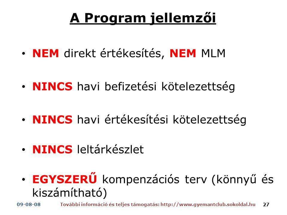 A Program jellemzői NEM direkt értékesítés, NEM MLM NINCS havi befizetési kötelezettség NINCS havi értékesítési kötelezettség NINCS leltárkészlet EGYSZERŰ kompenzációs terv (könnyű és kiszámítható) További információ és teljes támogatás: http://www.gyemantclub.sokoldal.hu09-08-08 27