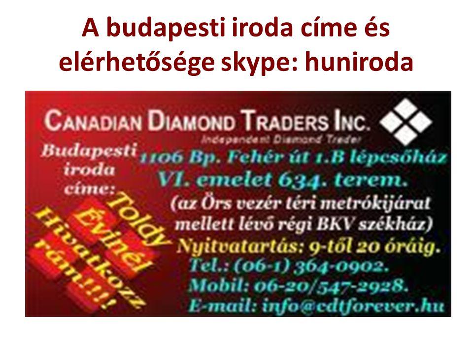 A budapesti iroda címe és elérhetősége skype: huniroda