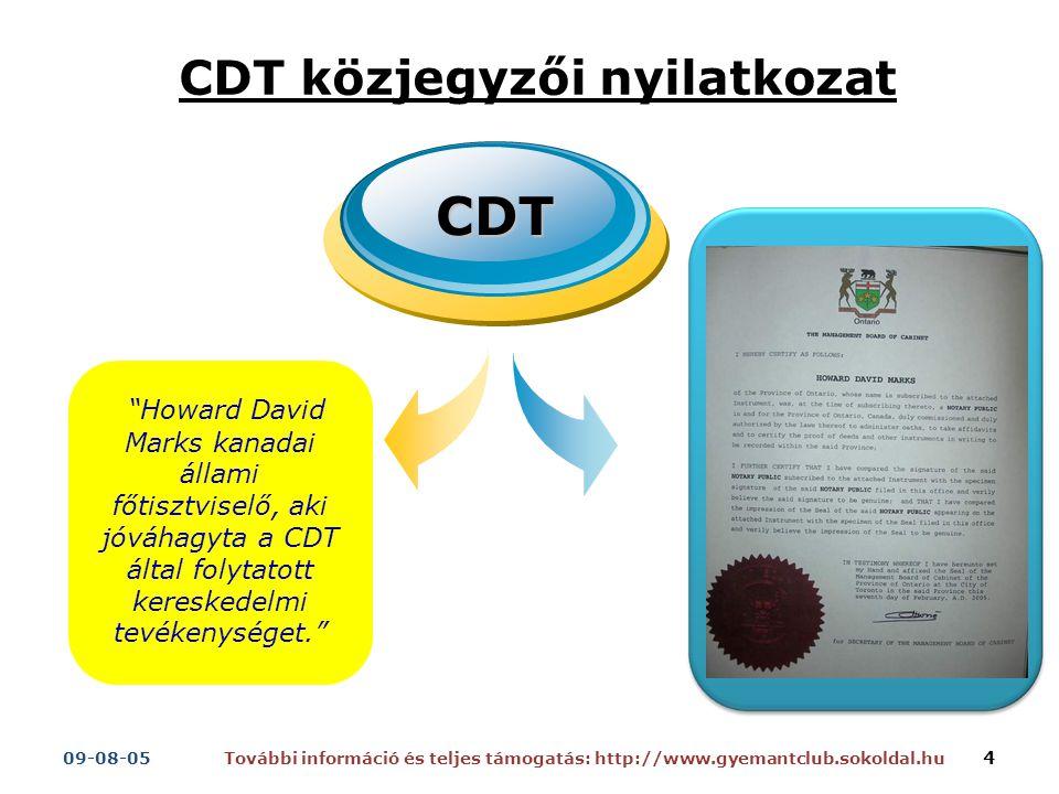 Howard David Marks kanadai állami főtisztviselő, aki jóváhagyta a CDT által folytatott kereskedelmi tevékenységet. CDT CDT közjegyzői nyilatkozat További információ és teljes támogatás: http://www.gyemantclub.sokoldal.hu09-08-05 4