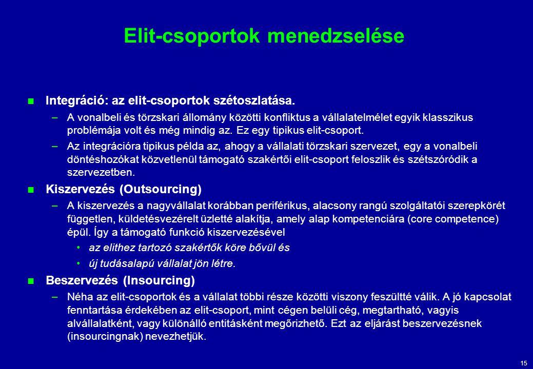 15 Elit-csoportok menedzselése Integráció: az elit-csoportok szétoszlatása.