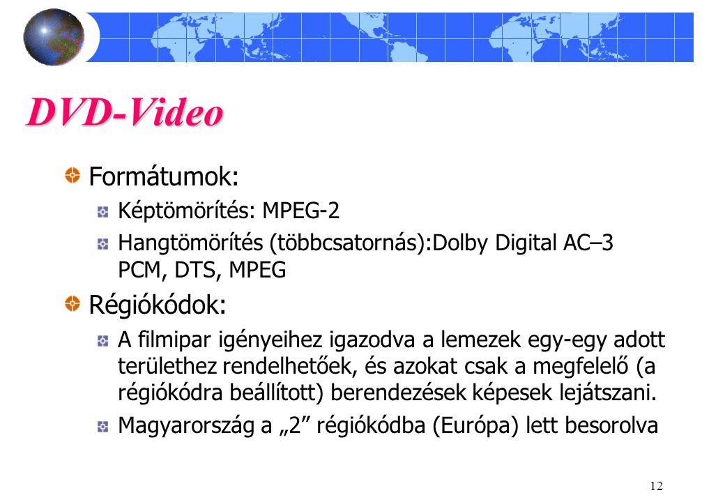 12 DVD-Video Formátumok: Képtömörítés: MPEG-2 Hangtömörítés (többcsatornás):Dolby Digital AC–3 PCM, DTS, MPEG Régiókódok: A filmipar igényeihez igazod