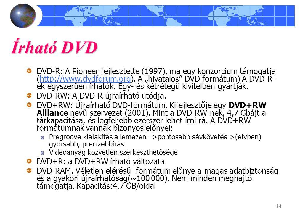 """14 Írható DVD DVD-R: A Pioneer fejlesztette (1997), ma egy konzorcium támogatja (http://www.dvdforum.org). A """"hivatalos"""" DVD formátum) A DVD-R- ek egy"""