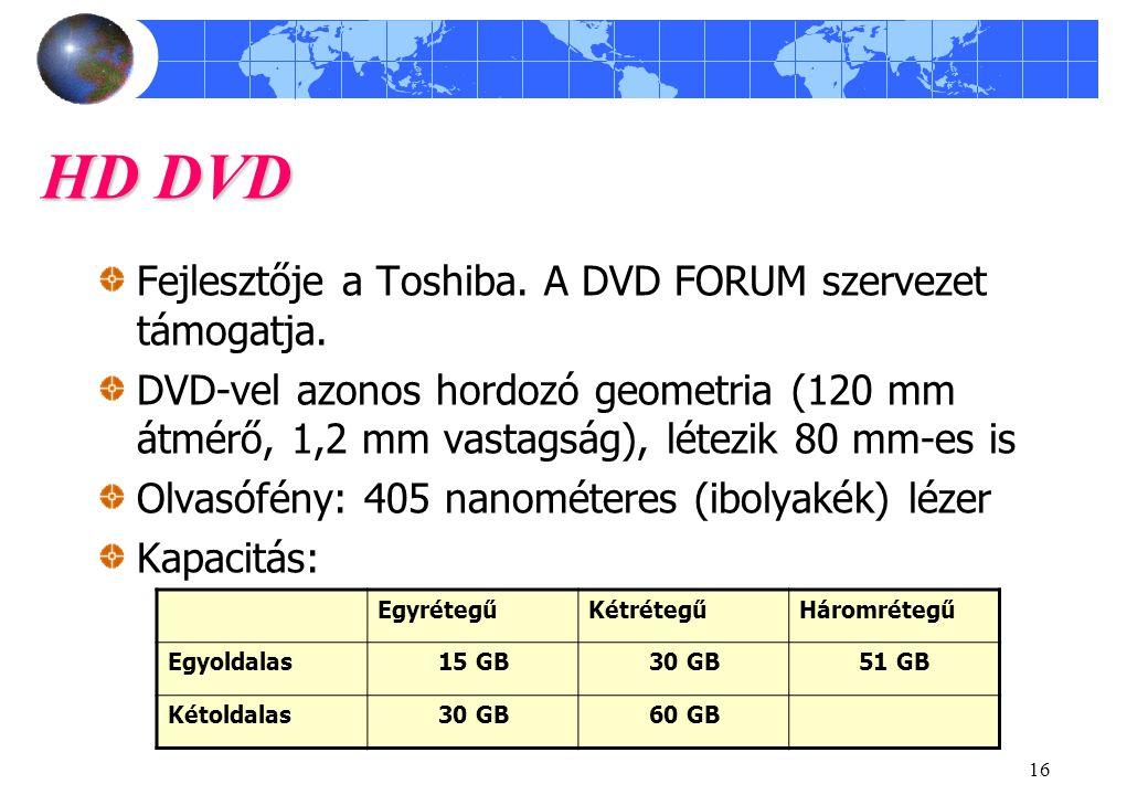 16 HD DVD Fejlesztője a Toshiba. A DVD FORUM szervezet támogatja. DVD-vel azonos hordozó geometria (120 mm átmérő, 1,2 mm vastagság), létezik 80 mm-es