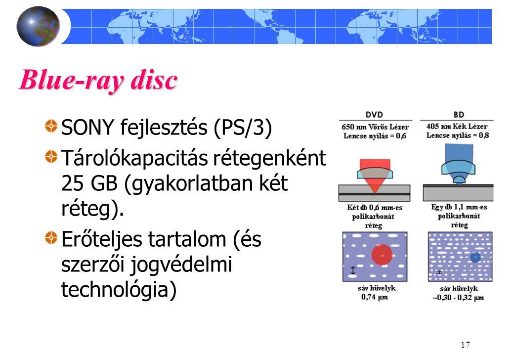 17 Blue-ray disc SONY fejlesztés (PS/3) Tárolókapacitás rétegenként 25 GB (gyakorlatban két réteg). Erőteljes tartalom (és szerzői jogvédelmi technoló