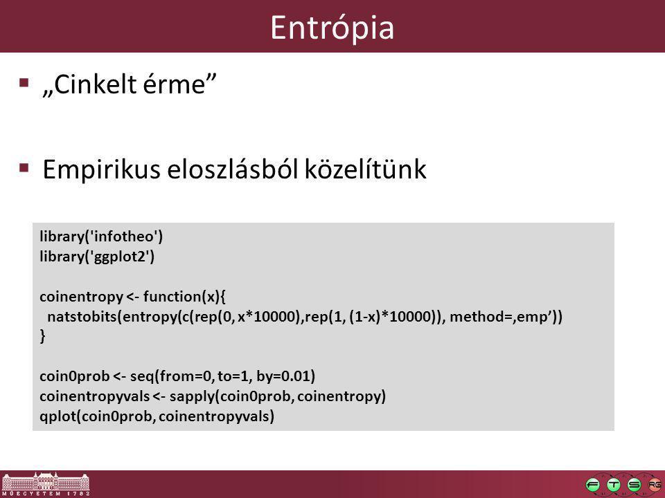 """ """"Cinkelt érme  Empirikus eloszlásból közelítünk library( infotheo ) library( ggplot2 ) coinentropy <- function(x){ natstobits(entropy(c(rep(0, x*10000),rep(1, (1-x)*10000)), method='emp')) } coin0prob <- seq(from=0, to=1, by=0.01) coinentropyvals <- sapply(coin0prob, coinentropy) qplot(coin0prob, coinentropyvals)"""