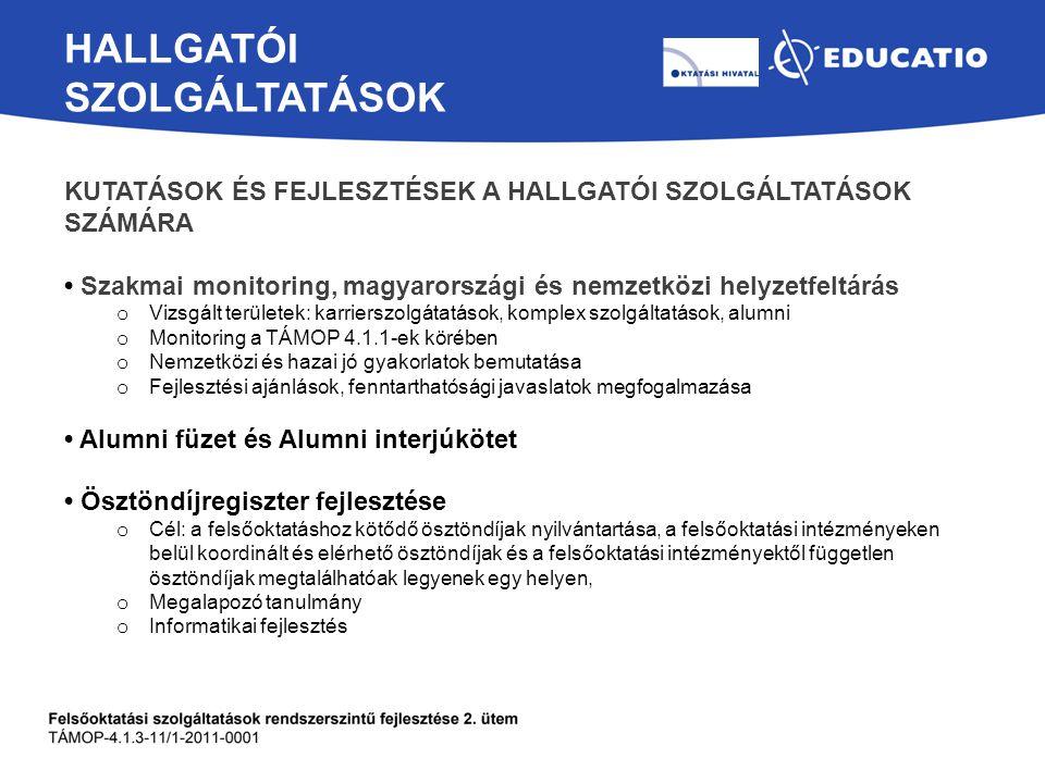 HALLGATÓI SZOLGÁLTATÁSOK KUTATÁSOK ÉS FEJLESZTÉSEK A HALLGATÓI SZOLGÁLTATÁSOK SZÁMÁRA Szakmai monitoring, magyarországi és nemzetközi helyzetfeltárás o Vizsgált területek: karrierszolgátatások, komplex szolgáltatások, alumni o Monitoring a TÁMOP 4.1.1-ek körében o Nemzetközi és hazai jó gyakorlatok bemutatása o Fejlesztési ajánlások, fenntarthatósági javaslatok megfogalmazása Alumni füzet és Alumni interjúkötet Ösztöndíjregiszter fejlesztése o Cél: a felsőoktatáshoz kötődő ösztöndíjak nyilvántartása, a felsőoktatási intézményeken belül koordinált és elérhető ösztöndíjak és a felsőoktatási intézményektől független ösztöndíjak megtalálhatóak legyenek egy helyen, o Megalapozó tanulmány o Informatikai fejlesztés