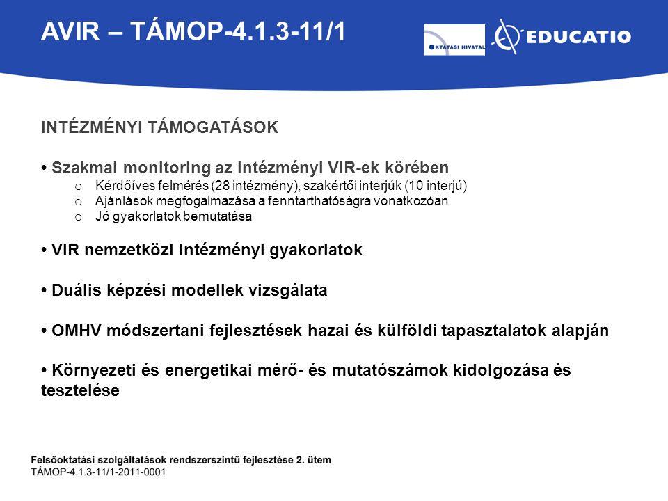 AVIR – TÁMOP-4.1.3-11/1 INTÉZMÉNYI TÁMOGATÁSOK Szakmai monitoring az intézményi VIR-ek körében o Kérdőíves felmérés (28 intézmény), szakértői interjúk (10 interjú) o Ajánlások megfogalmazása a fenntarthatóságra vonatkozóan o Jó gyakorlatok bemutatása VIR nemzetközi intézményi gyakorlatok Duális képzési modellek vizsgálata OMHV módszertani fejlesztések hazai és külföldi tapasztalatok alapján Környezeti és energetikai mérő- és mutatószámok kidolgozása és tesztelése