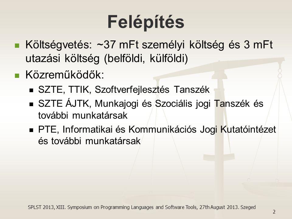 Felépítés Költségvetés: ~37 mFt személyi költség és 3 mFt utazási költség (belföldi, külföldi) Közreműködők: SZTE, TTIK, Szoftverfejlesztés Tanszék SZ