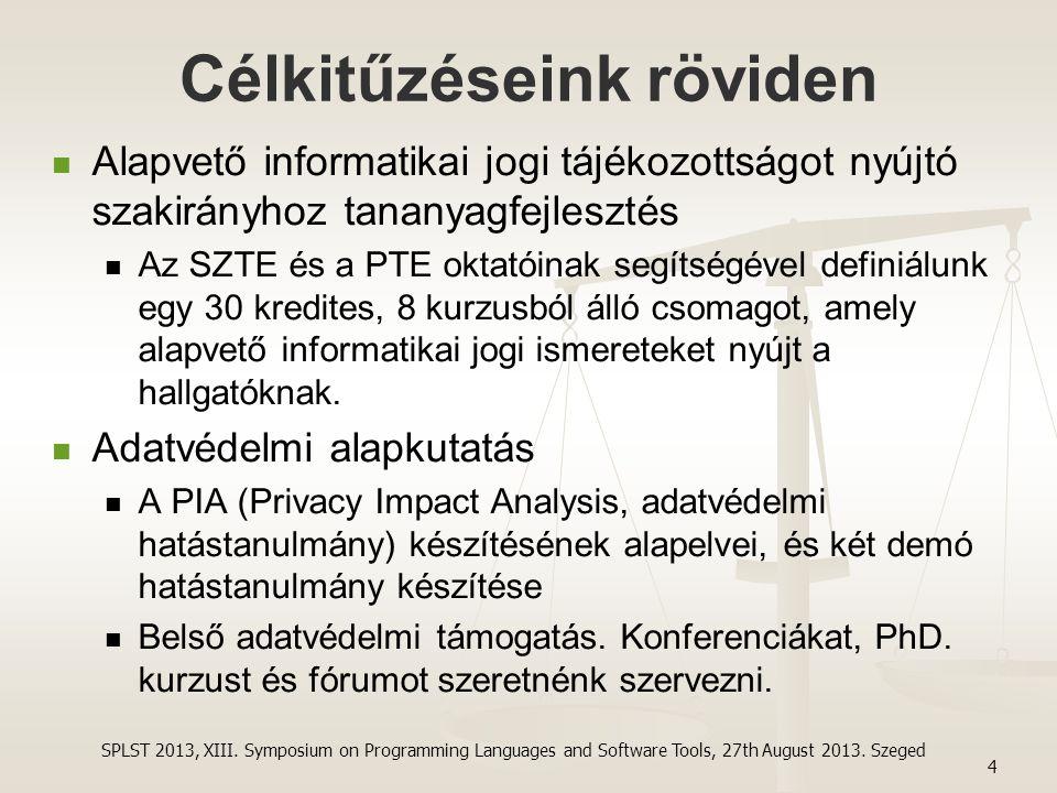 Célkitűzéseink röviden Alapvető informatikai jogi tájékozottságot nyújtó szakirányhoz tananyagfejlesztés Az SZTE és a PTE oktatóinak segítségével defi