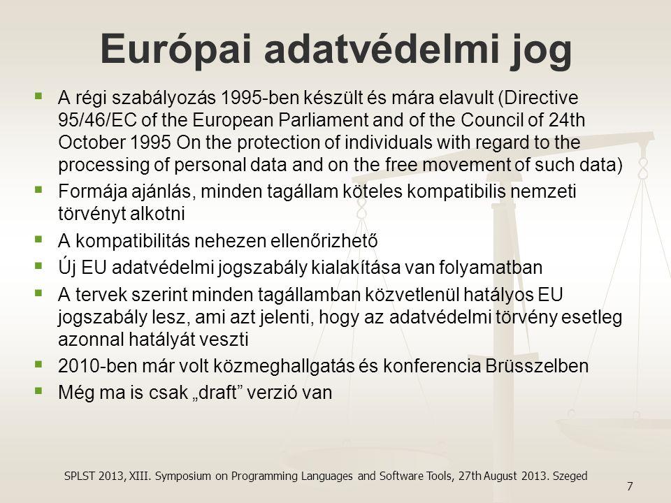 Európai adatvédelmi jog   A régi szabályozás 1995-ben készült és mára elavult (Directive 95/46/EC of the European Parliament and of the Council of 2