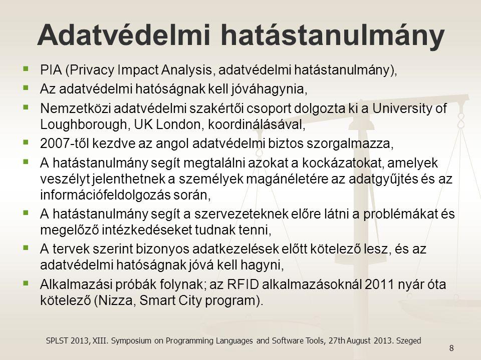 Adatvédelmi hatástanulmány   PIA (Privacy Impact Analysis, adatvédelmi hatástanulmány),   Az adatvédelmi hatóságnak kell jóváhagynia,   Nemzetkö