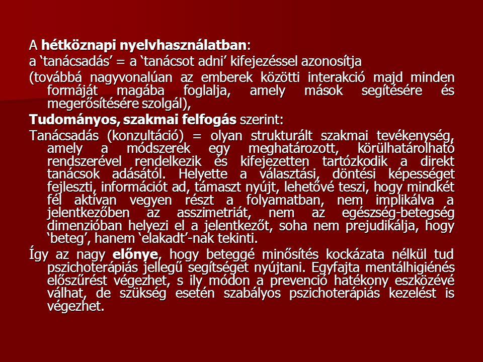 A hétköznapi nyelvhasználatban: a 'tanácsadás' = a 'tanácsot adni' kifejezéssel azonosítja (továbbá nagyvonalúan az emberek közötti interakció majd mi