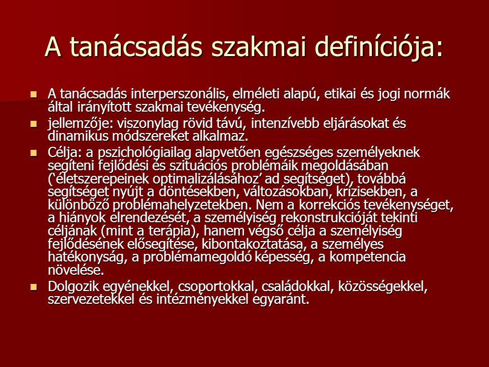 A tanácsadás szakmai definíciója: A tanácsadás interperszonális, elméleti alapú, etikai és jogi normák által irányított szakmai tevékenység. A tanácsa