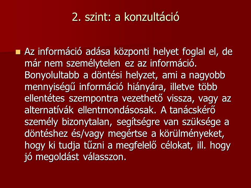 2. szint: a konzultáció Az információ adása központi helyet foglal el, de már nem személytelen ez az információ. Bonyolultabb a döntési helyzet, ami a
