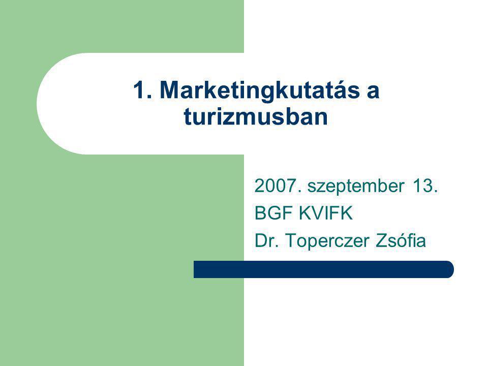 1. Marketingkutatás a turizmusban 2007. szeptember 13. BGF KVIFK Dr. Toperczer Zsófia
