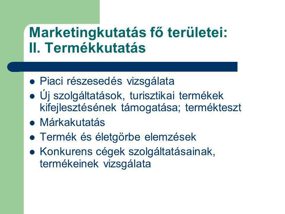 Marketingkutatás fő területei: II. Termékkutatás Piaci részesedés vizsgálata Új szolgáltatások, turisztikai termékek kifejlesztésének támogatása; term