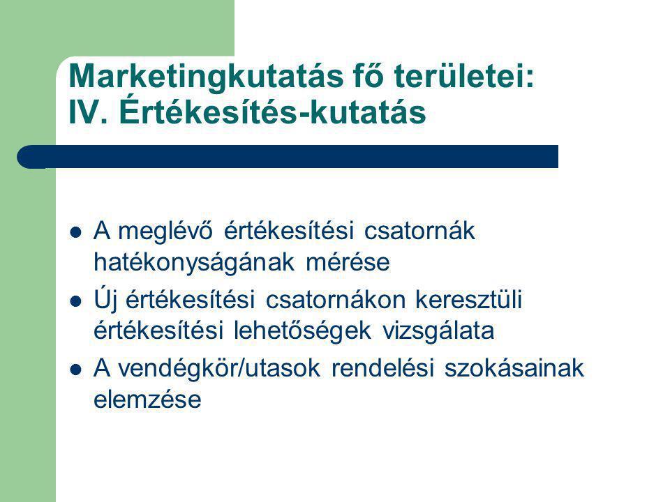 Marketingkutatás fő területei: IV. Értékesítés-kutatás A meglévő értékesítési csatornák hatékonyságának mérése Új értékesítési csatornákon keresztüli