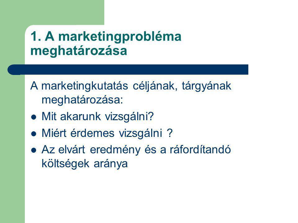 1. A marketingprobléma meghatározása A marketingkutatás céljának, tárgyának meghatározása: Mit akarunk vizsgálni? Miért érdemes vizsgálni ? Az elvárt