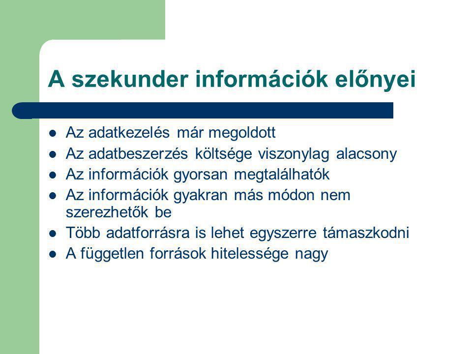 A szekunder információk előnyei Az adatkezelés már megoldott Az adatbeszerzés költsége viszonylag alacsony Az információk gyorsan megtalálhatók Az inf