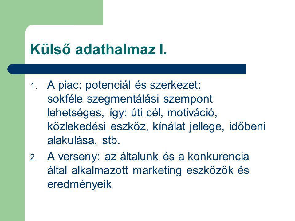 Külső adathalmaz I. 1. A piac: potenciál és szerkezet: sokféle szegmentálási szempont lehetséges, így: úti cél, motiváció, közlekedési eszköz, kínálat