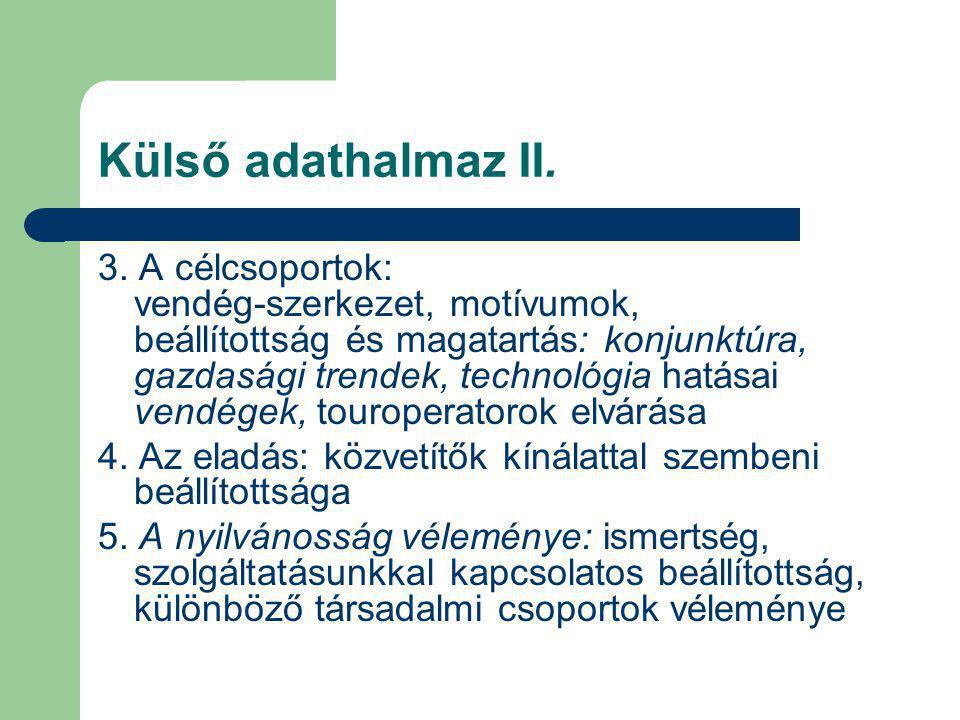 Külső adathalmaz II. 3. A célcsoportok: vendég-szerkezet, motívumok, beállítottság és magatartás: konjunktúra, gazdasági trendek, technológia hatásai