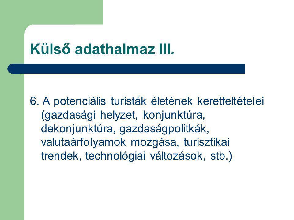Külső adathalmaz III. 6. A potenciális turisták életének keretfeltételei (gazdasági helyzet, konjunktúra, dekonjunktúra, gazdaságpolitkák, valutaárfol