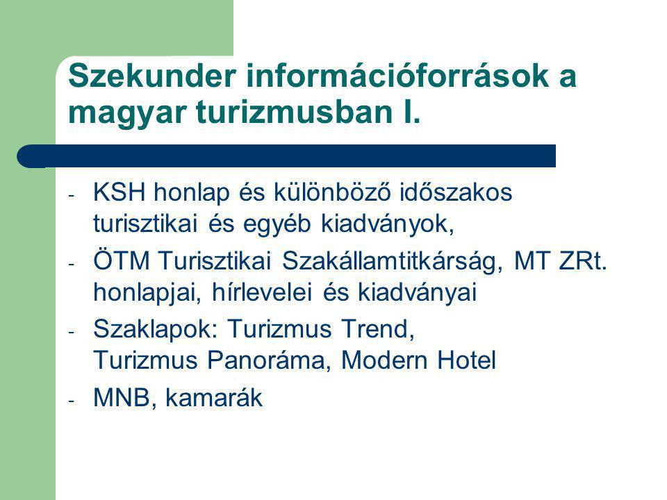Szekunder információforrások a magyar turizmusban I. - KSH honlap és különböző időszakos turisztikai és egyéb kiadványok, - ÖTM Turisztikai Szakállamt