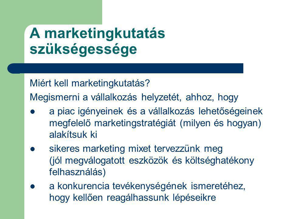 A marketingkutatás szükségessége Miért kell marketingkutatás? Megismerni a vállalkozás helyzetét, ahhoz, hogy a piac igényeinek és a vállalkozás lehet