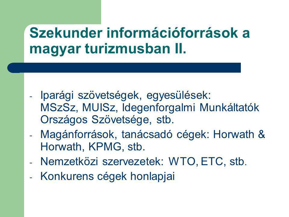 Szekunder információforrások a magyar turizmusban II. - Iparági szövetségek, egyesülések: MSzSz, MUISz, Idegenforgalmi Munkáltatók Országos Szövetsége
