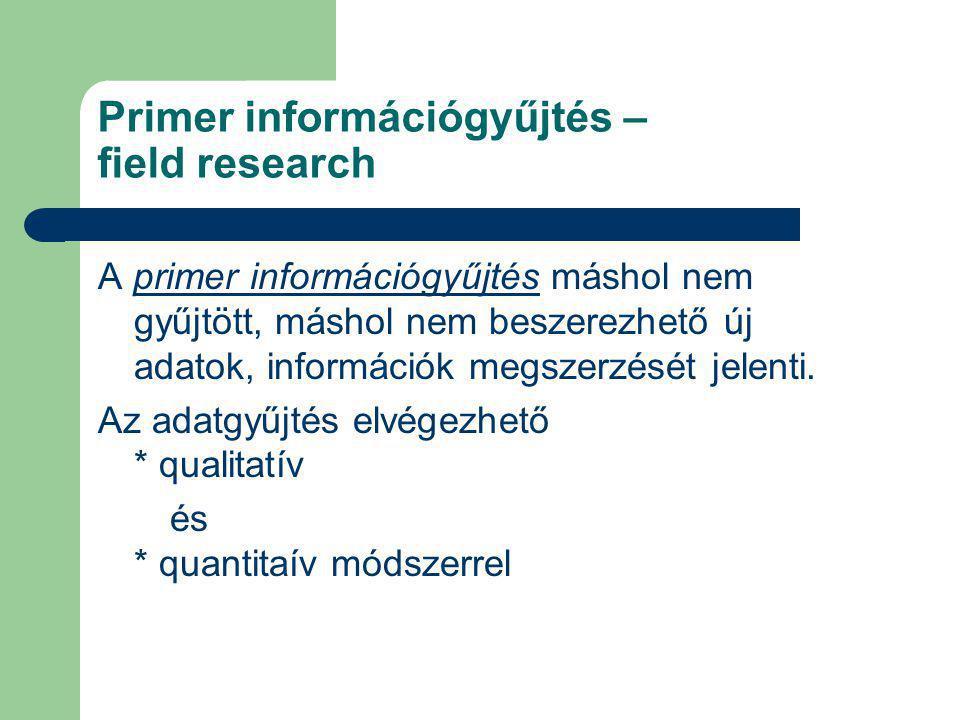 Primer információgyűjtés – field research A primer információgyűjtés máshol nem gyűjtött, máshol nem beszerezhető új adatok, információk megszerzését