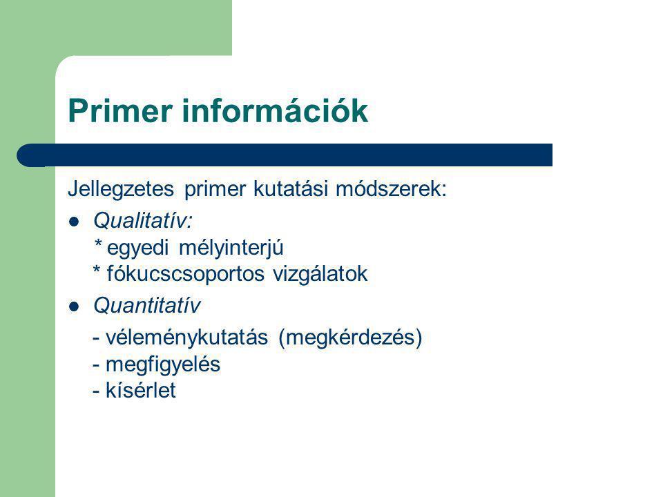 Primer információk Jellegzetes primer kutatási módszerek: Qualitatív: * egyedi mélyinterjú * fókucscsoportos vizgálatok Quantitatív - véleménykutatás