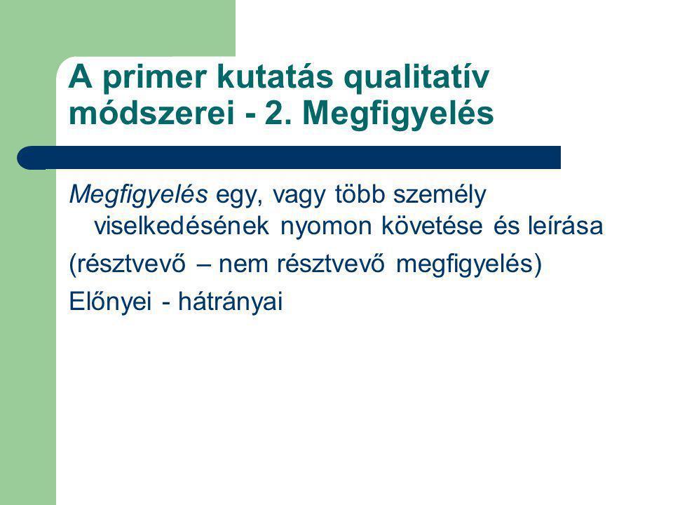 A primer kutatás qualitatív módszerei - 2. Megfigyelés Megfigyelés egy, vagy több személy viselkedésének nyomon követése és leírása (résztvevő – nem r