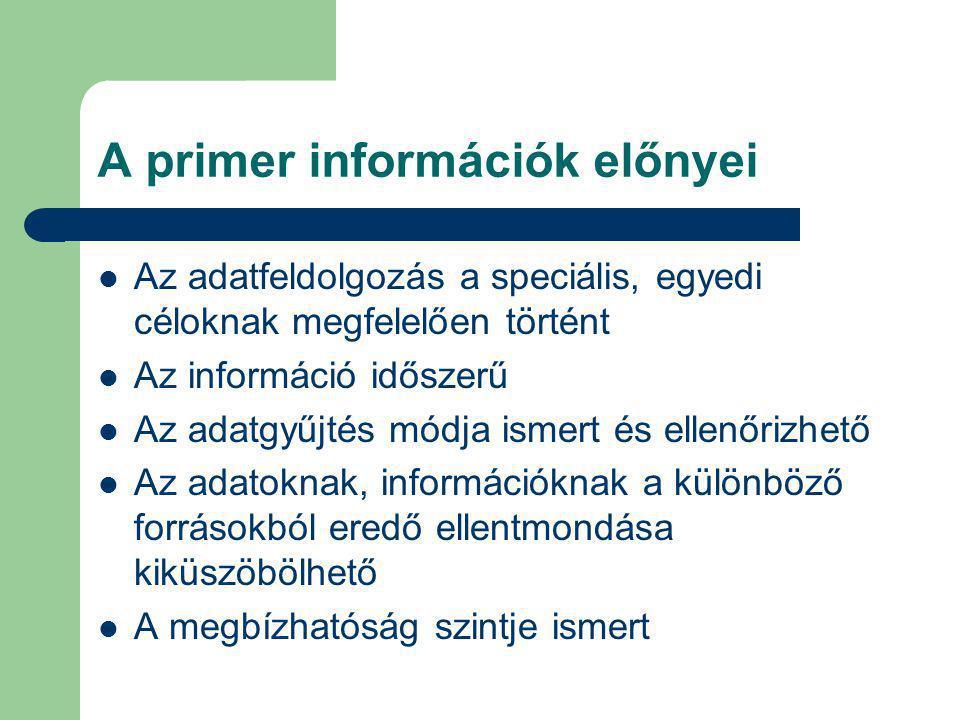 A primer információk előnyei Az adatfeldolgozás a speciális, egyedi céloknak megfelelően történt Az információ időszerű Az adatgyűjtés módja ismert és