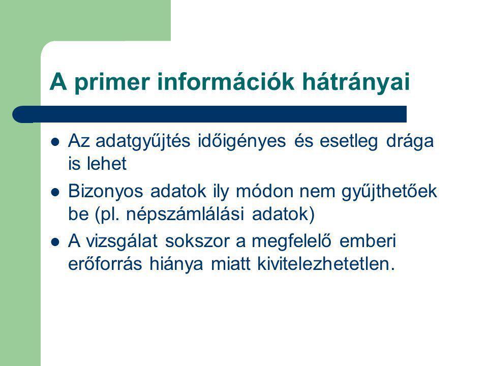 A primer információk hátrányai Az adatgyűjtés időigényes és esetleg drága is lehet Bizonyos adatok ily módon nem gyűjthetőek be (pl. népszámlálási ada