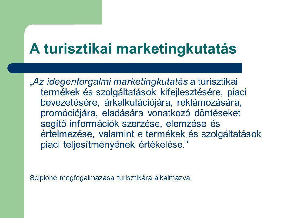 """A turisztikai marketingkutatás """"Az idegenforgalmi marketingkutatás a turisztikai termékek és szolgáltatások kifejlesztésére, piaci bevezetésére, árkal"""