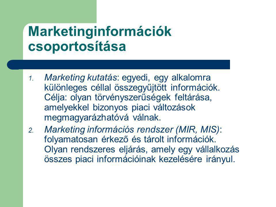 Marketinginformációk csoportosítása 1. Marketing kutatás: egyedi, egy alkalomra különleges céllal összegyűjtött információk. Célja: olyan törvényszerű
