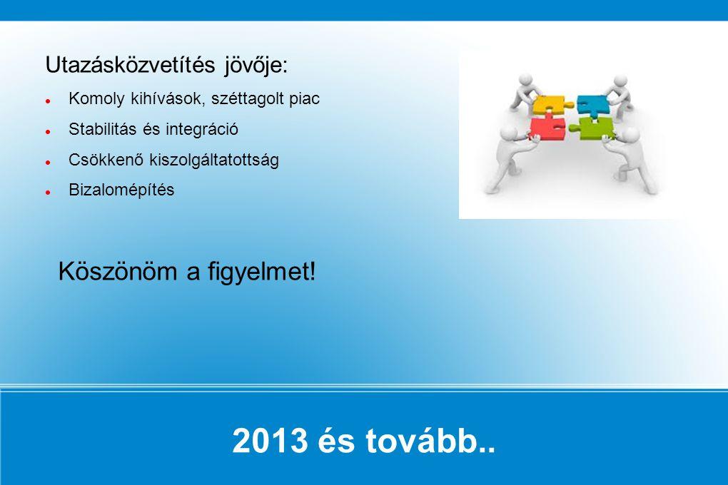 2013 és tovább.. Utazásközvetítés jövője: Komoly kihívások, széttagolt piac Stabilitás és integráció Csökkenő kiszolgáltatottság Bizalomépítés Köszönö