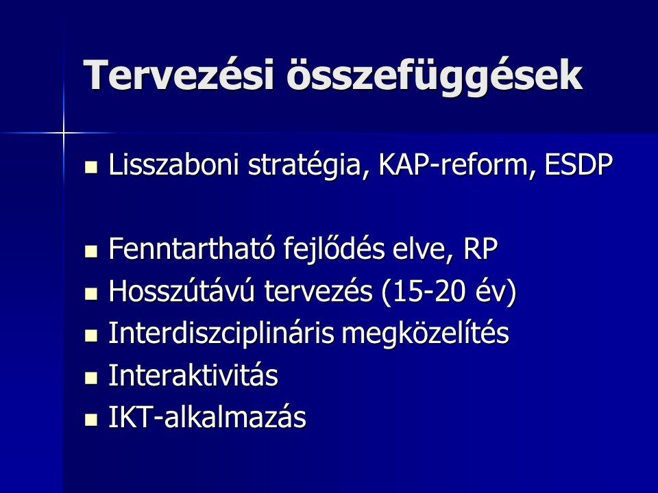 Tervezési összefüggések Lisszaboni stratégia, KAP-reform, ESDP Lisszaboni stratégia, KAP-reform, ESDP Fenntartható fejlődés elve, RP Fenntartható fejlődés elve, RP Hosszútávú tervezés (15-20 év) Hosszútávú tervezés (15-20 év) Interdiszciplináris megközelítés Interdiszciplináris megközelítés Interaktivitás Interaktivitás IKT-alkalmazás IKT-alkalmazás