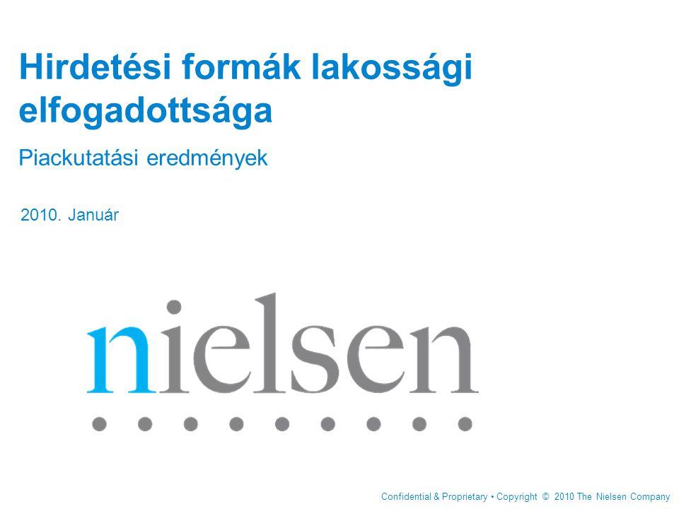 Confidential & Proprietary Copyright © 2010 The Nielsen Company Hirdetési formák lakossági elfogadottsága Piackutatási eredmények 2010.