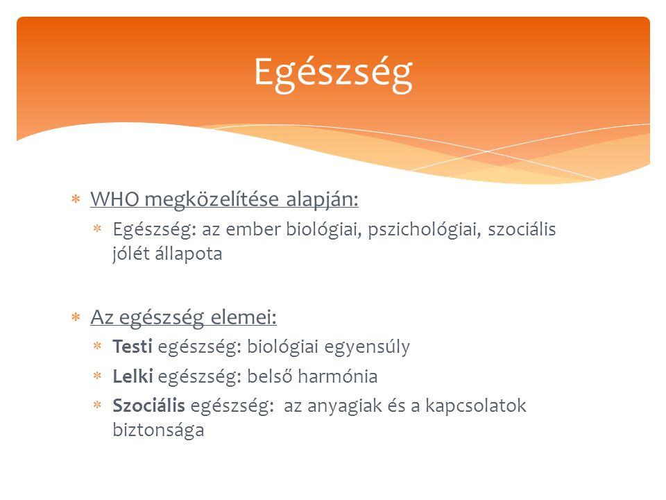  WHO megközelítése alapján:  Egészség: az ember biológiai, pszichológiai, szociális jólét állapota  Az egészség elemei:  Testi egészség: biológiai